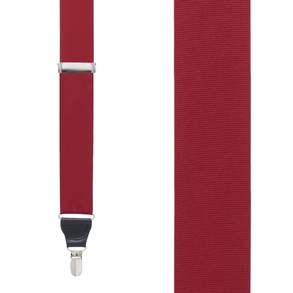 Grosgrain Clip Suspenders - Dark Red Front View