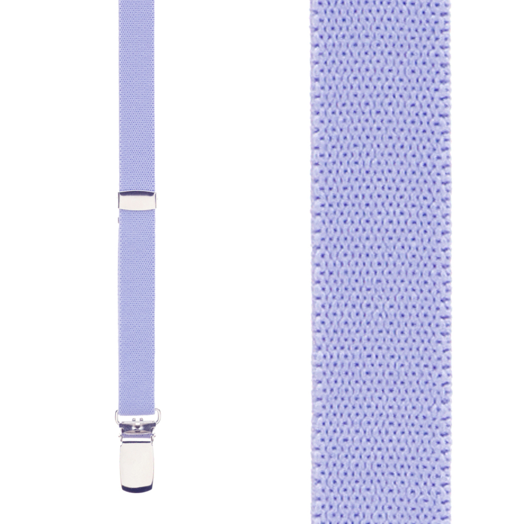 1/2 Inch Wide Skinny Suspenders in Lilac - Front View