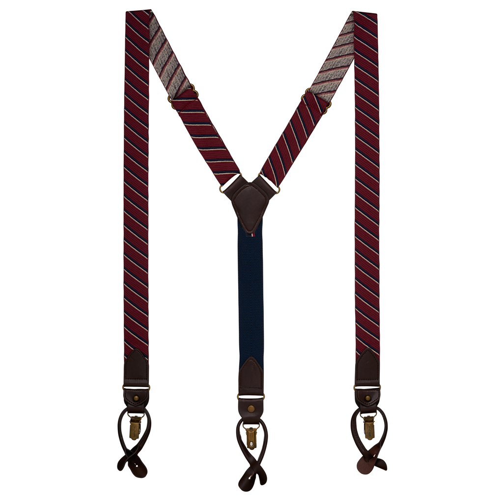 RED Tommy Hilfiger Diagonal Stripe Suspenders - Convertible