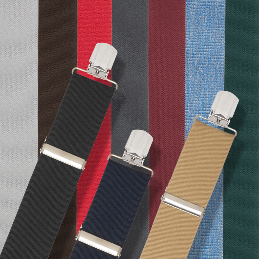 Solid Pin Clip Suspenders - All Colors