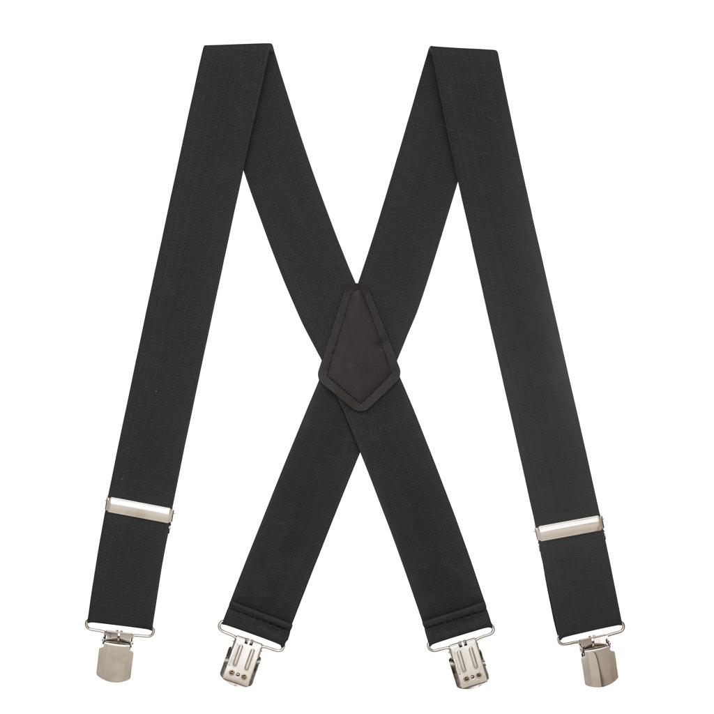 Pin Clip Suspenders in Black - Full View