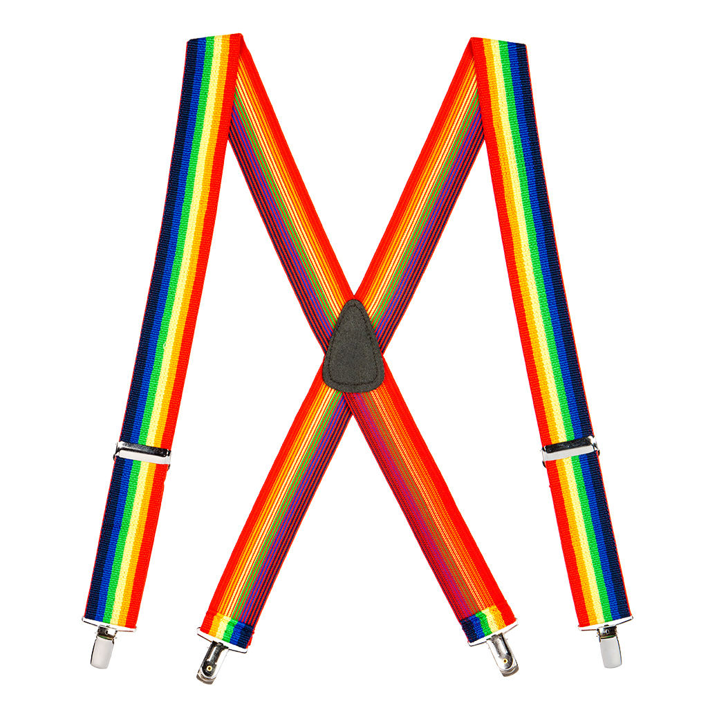 Full View - Rainbow Striped Clip Suspenders - 1.5 Inch Wide, Clip