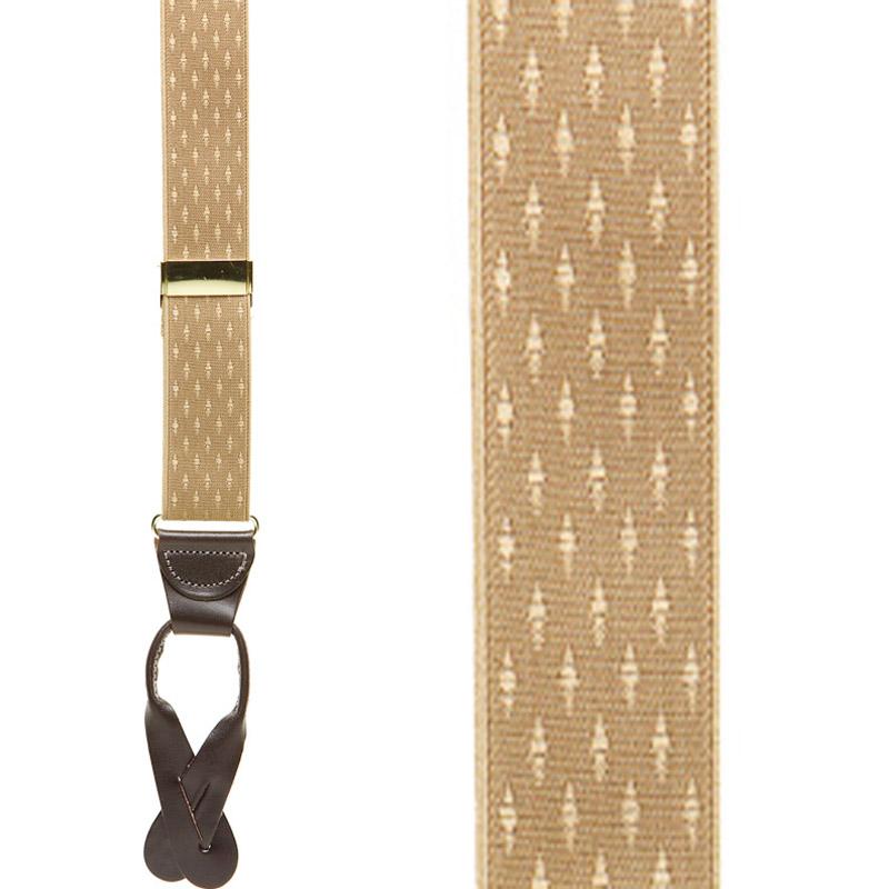 Tan Jacquard Suspenders - Petite Diamonds Button - Front View