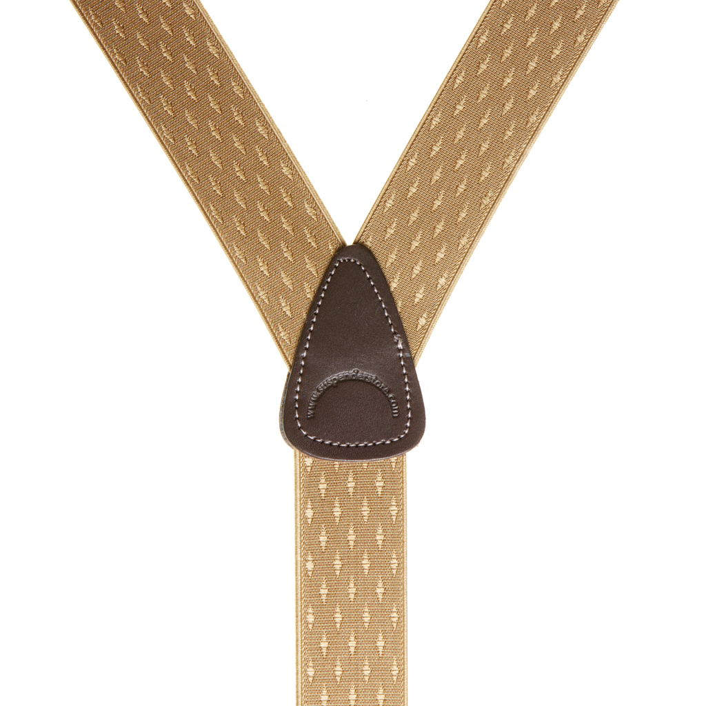 Tan Jacquard Suspenders - Petite Diamonds Button - Rear View