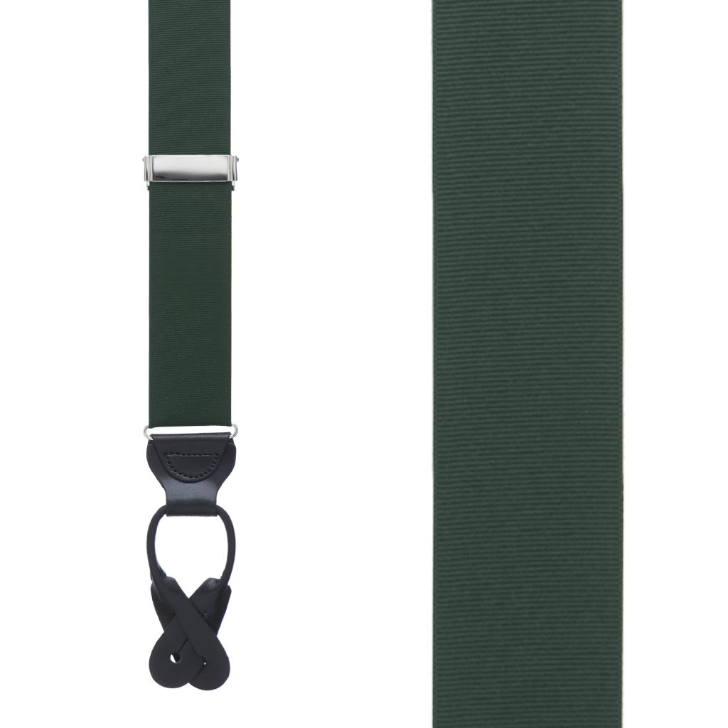 Grosgrain Button Suspenders - Hunter Green Front View