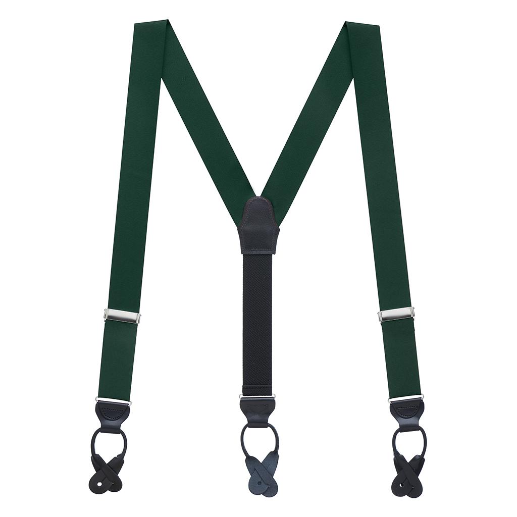 Grosgrain Button Suspenders - Hunter Green Full View