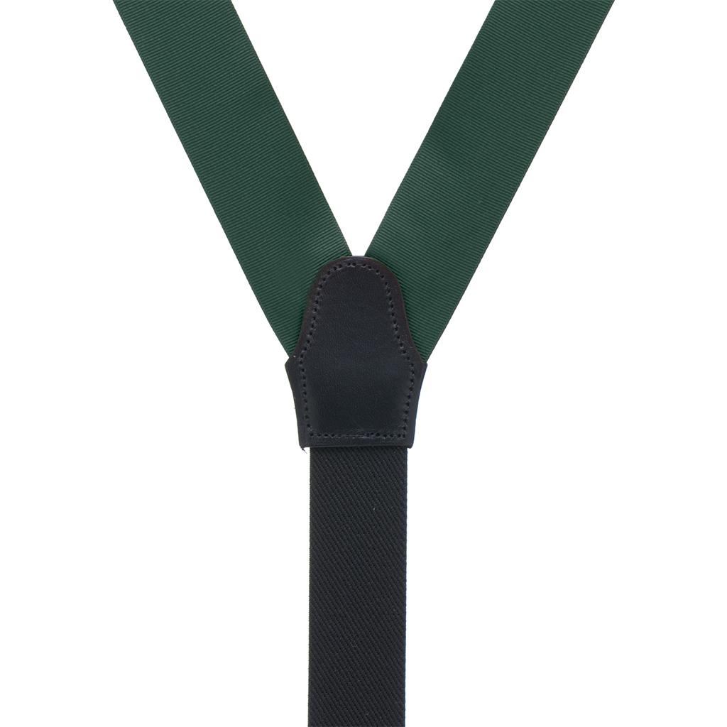 Grosgrain Button Suspenders - Hunter Green Rear View
