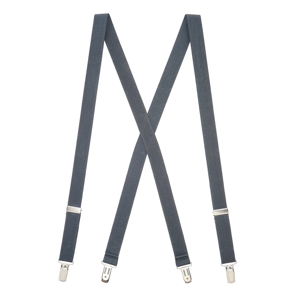 1 Inch Wide Clip X-Back Suspenders in Dark Grey - Full View