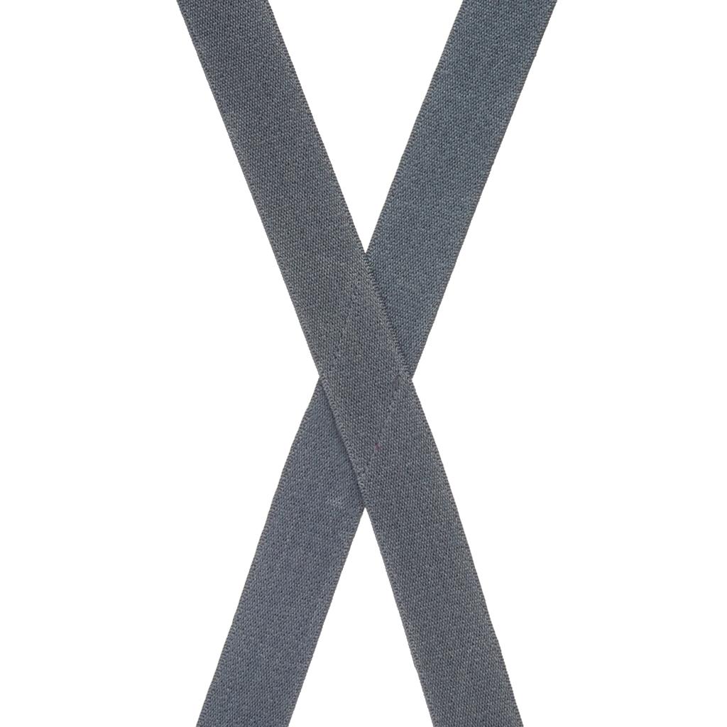 1 Inch Wide Clip X-Back Suspenders in Dark Grey - Rear View