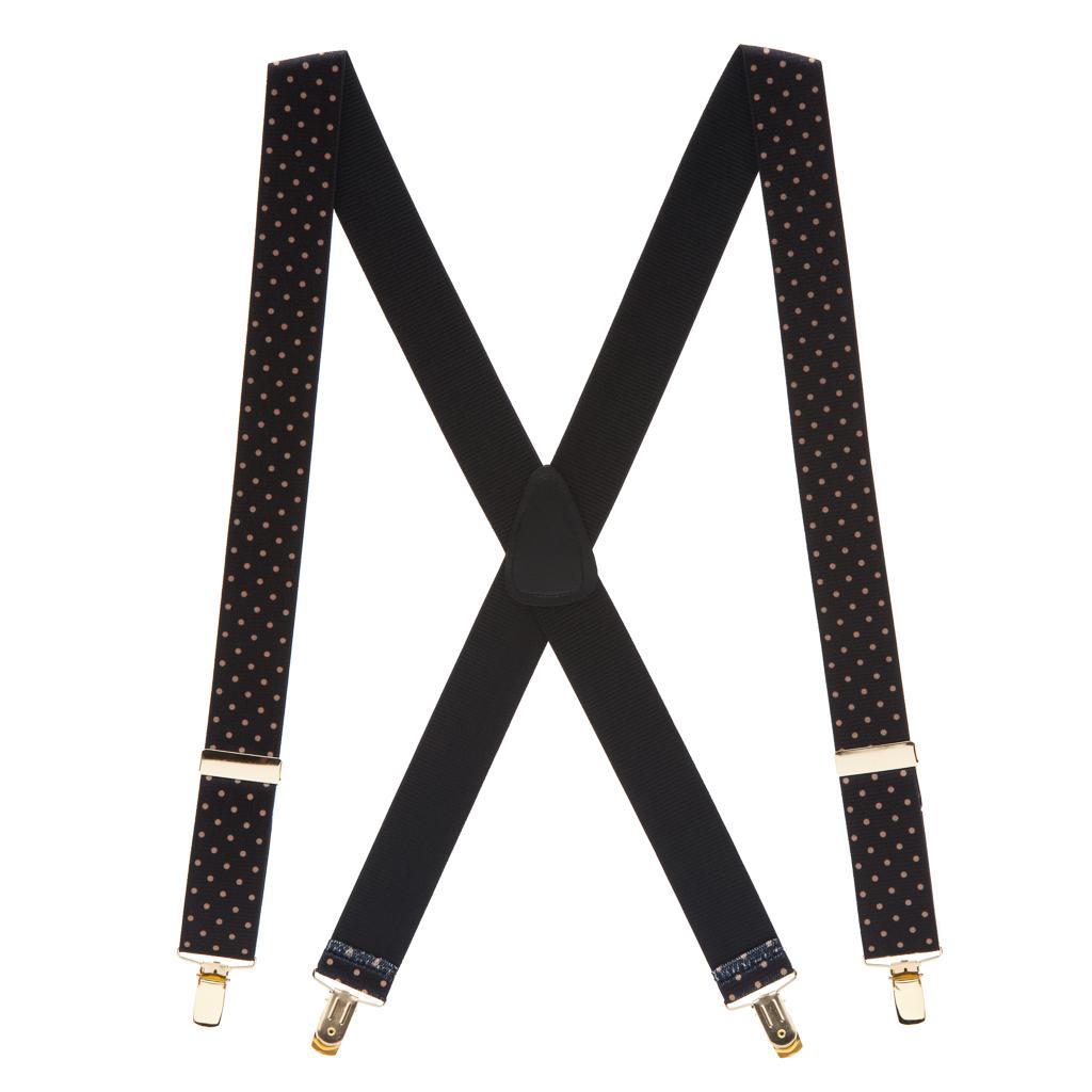 Full View - Polka Dot Suspenders - Khaki on Black 1.5 Inch Wide Clip