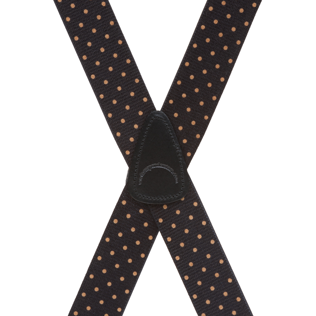 Rear View - Polka Dot Suspenders - Khaki on Black 1.5 Inch Wide Clip