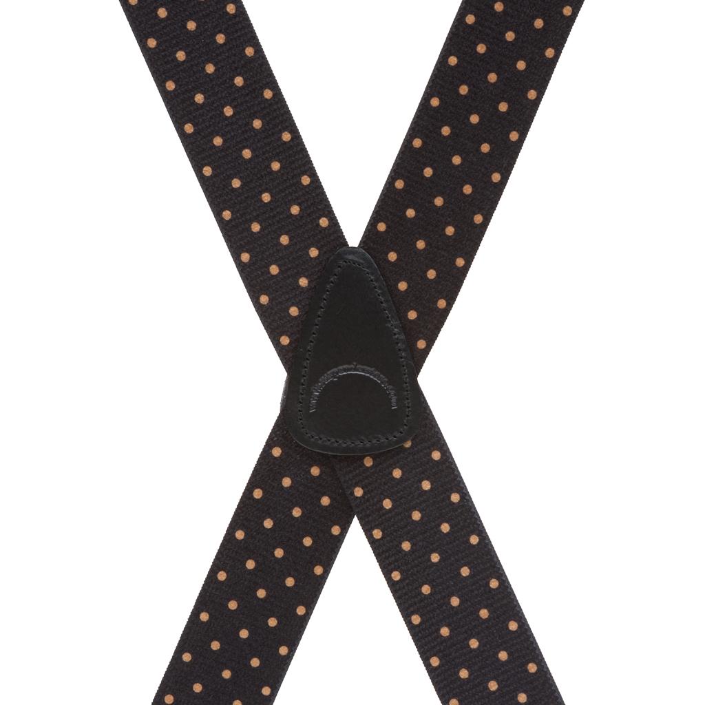 Rear View - Polka Dot Suspenders - Khaki on Black 1.5 Inch Wide Clip