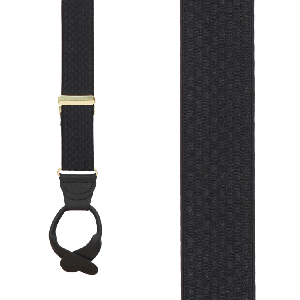 Black Jacquard Checkered Suspenders - Button - Front View