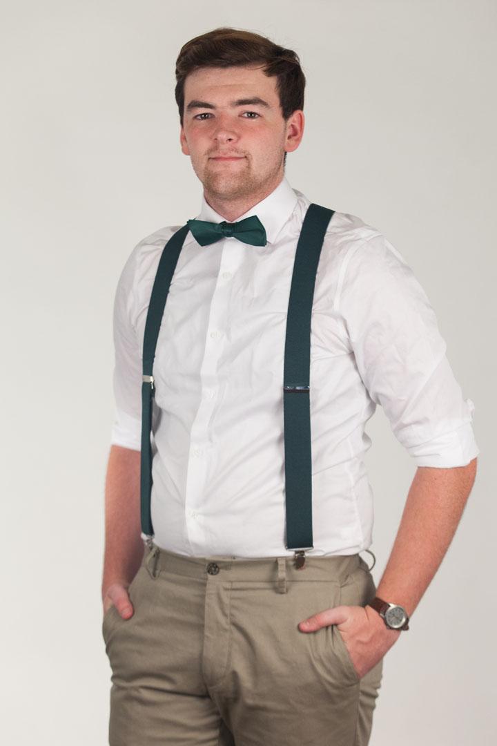 Model wearing bow tie