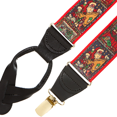 Kris Kringle Suspenders in Button and Clip