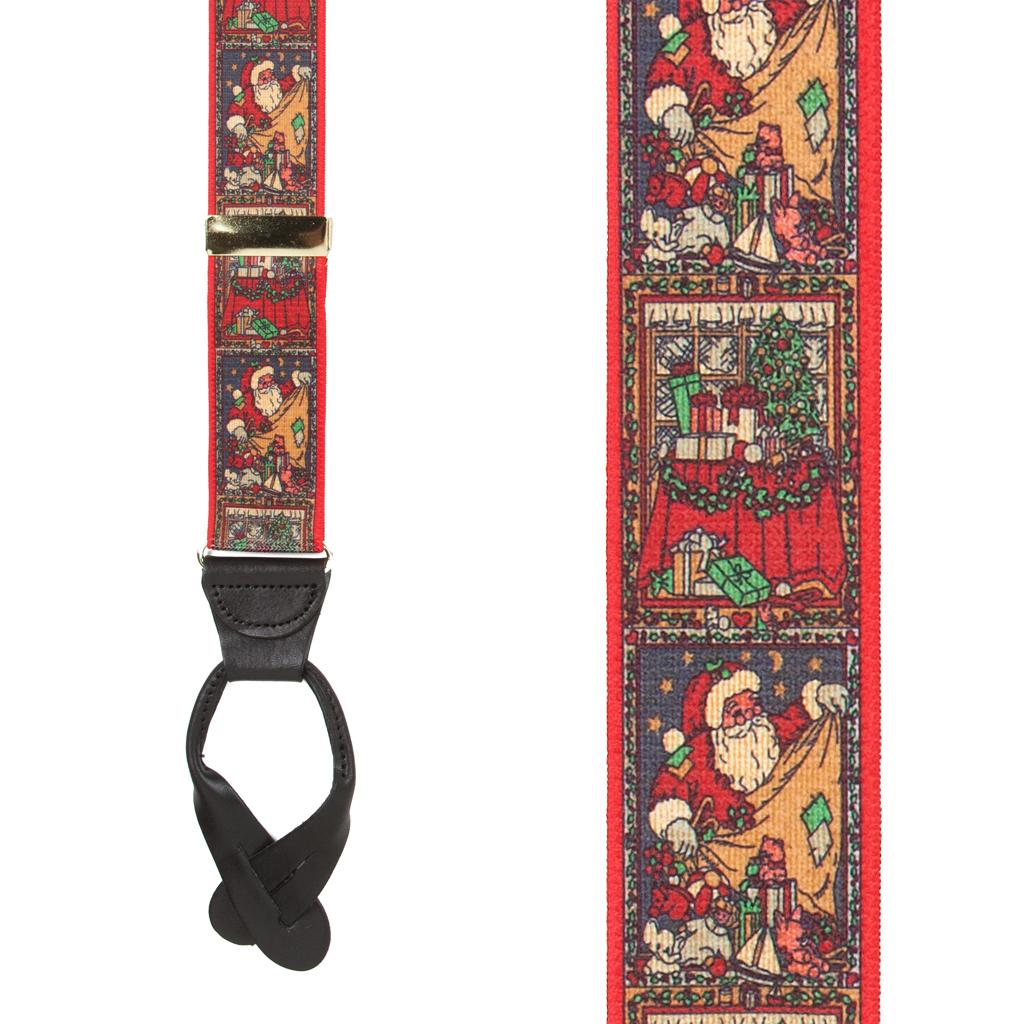 Kris Kringle Dressy Christmas Suspenders - Button- Front View