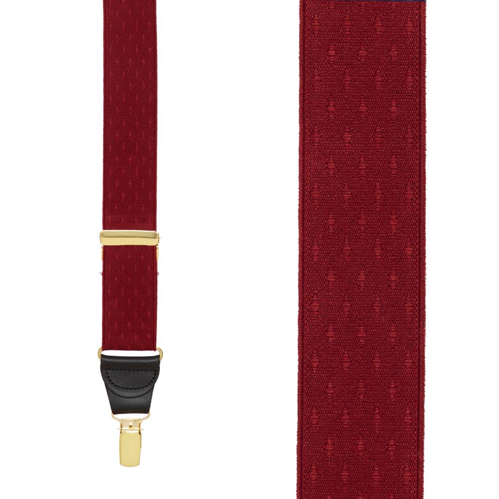 Jacquard Petite Diamonds Clip Suspenders in Burgundy - Front View