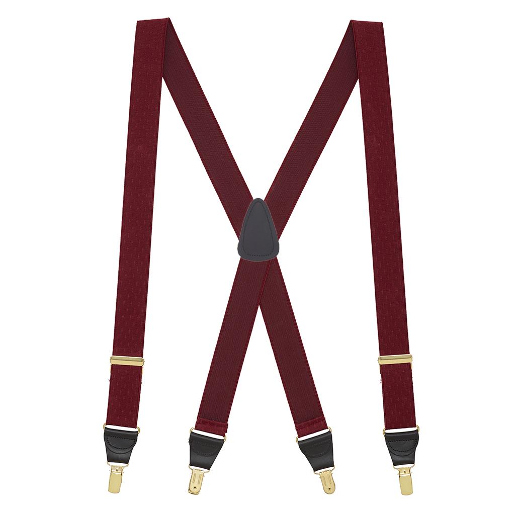 Jacquard Petite Diamonds Clip Suspenders in Burgundy - Full View