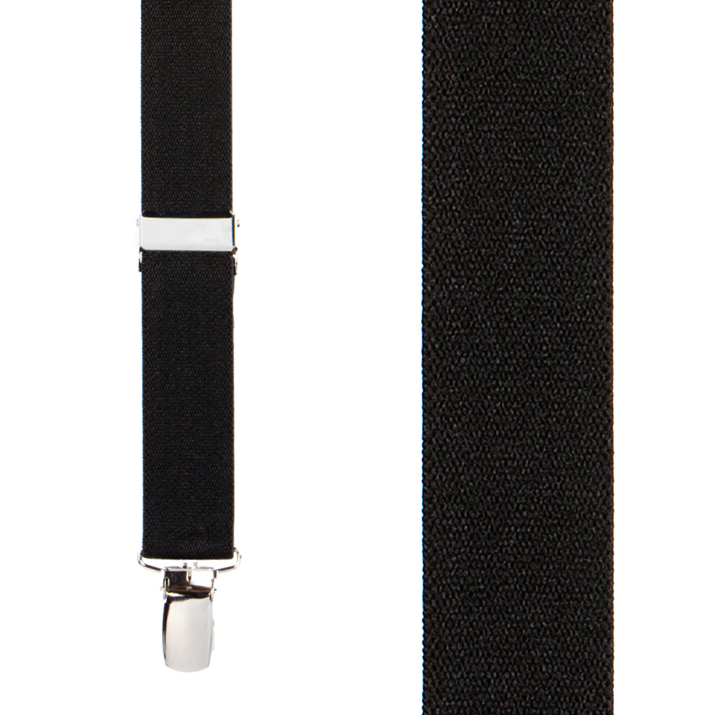 1 Inch Wide Clip Suspenders (X-Back) - BLACK