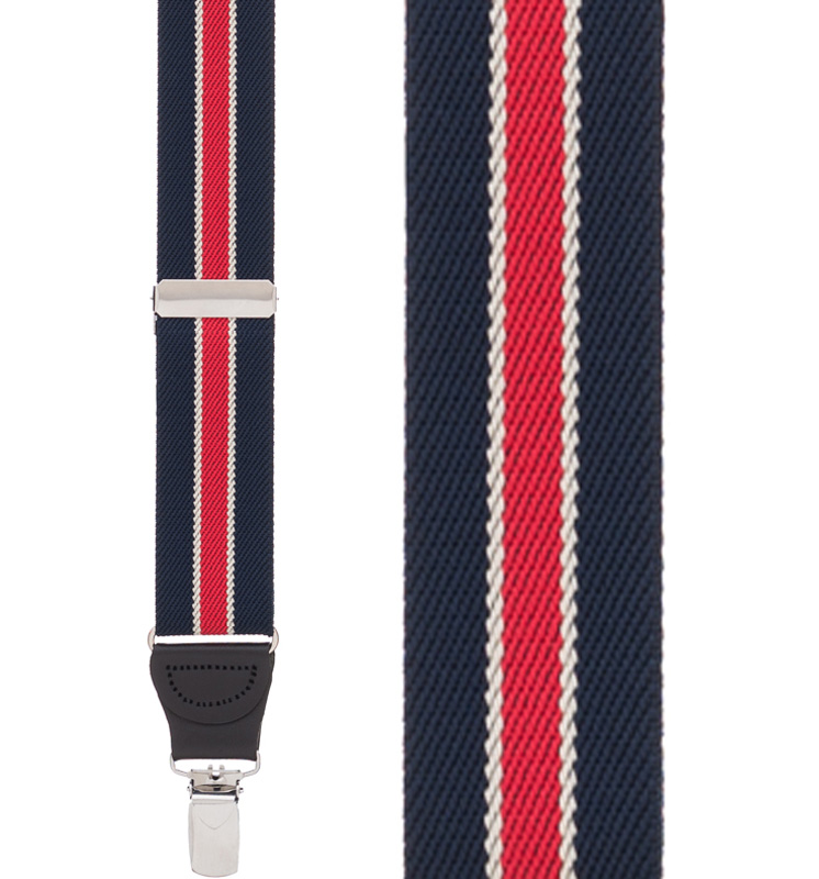 Navy/Red Striped Y-Back Clip - Front View