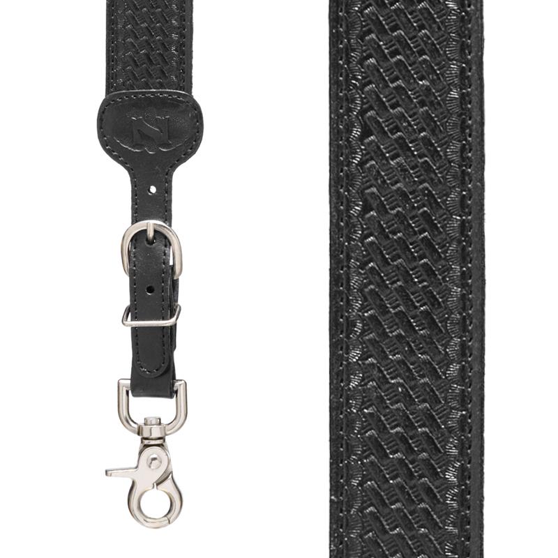 Basketweave Galluses - All Leather Suspenders BLACK