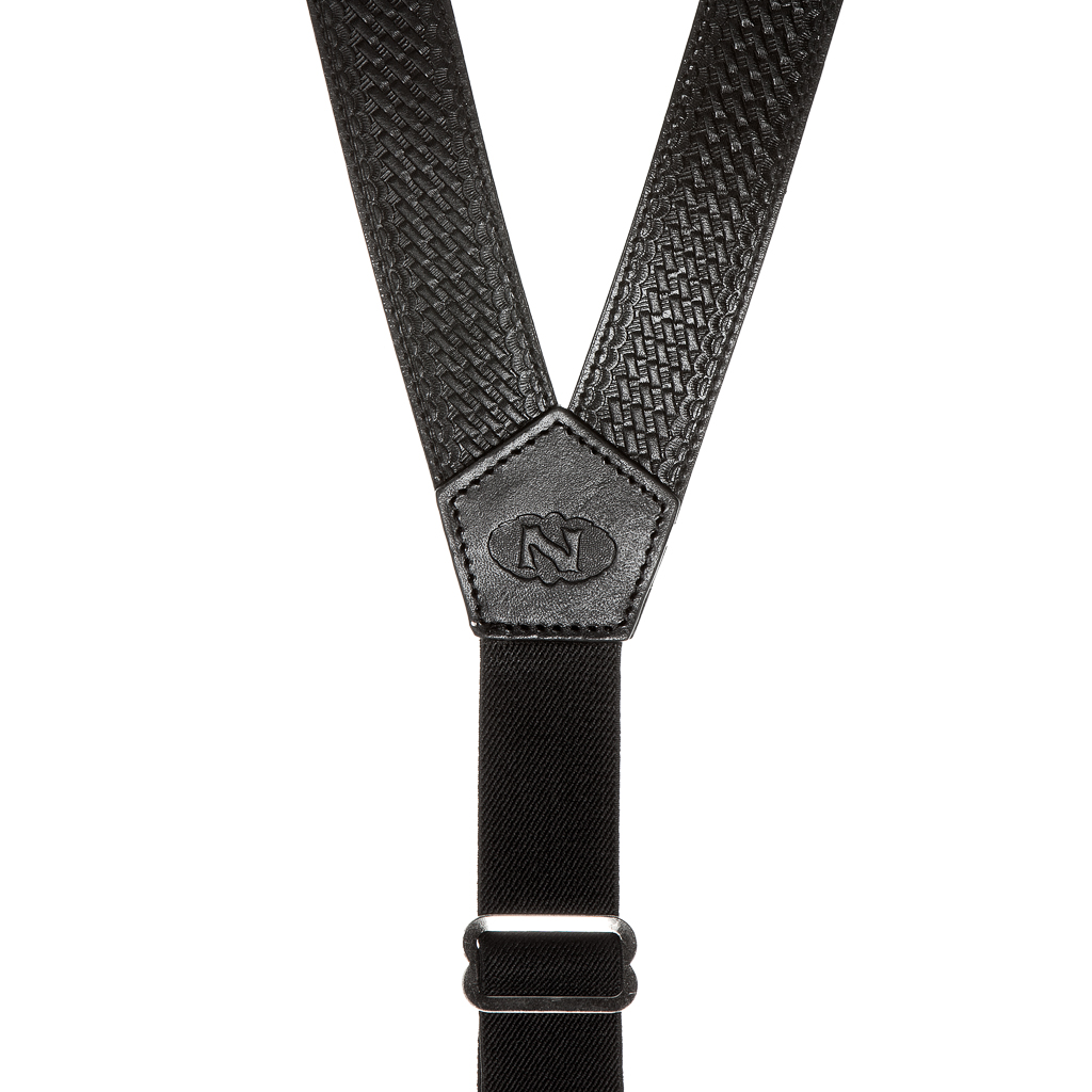 Basketweave Galluses - Leather Suspenders BLACK