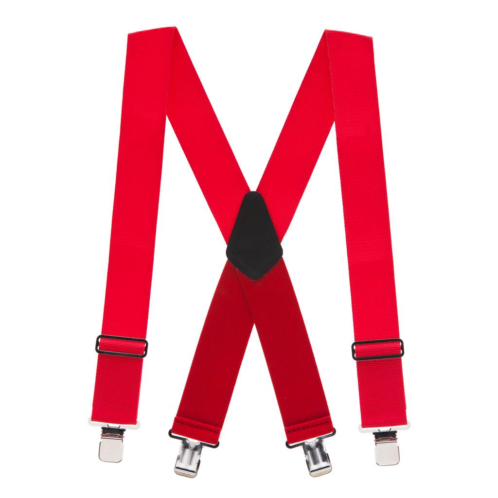 Heavy Duty Work Suspenders in Red - Full View