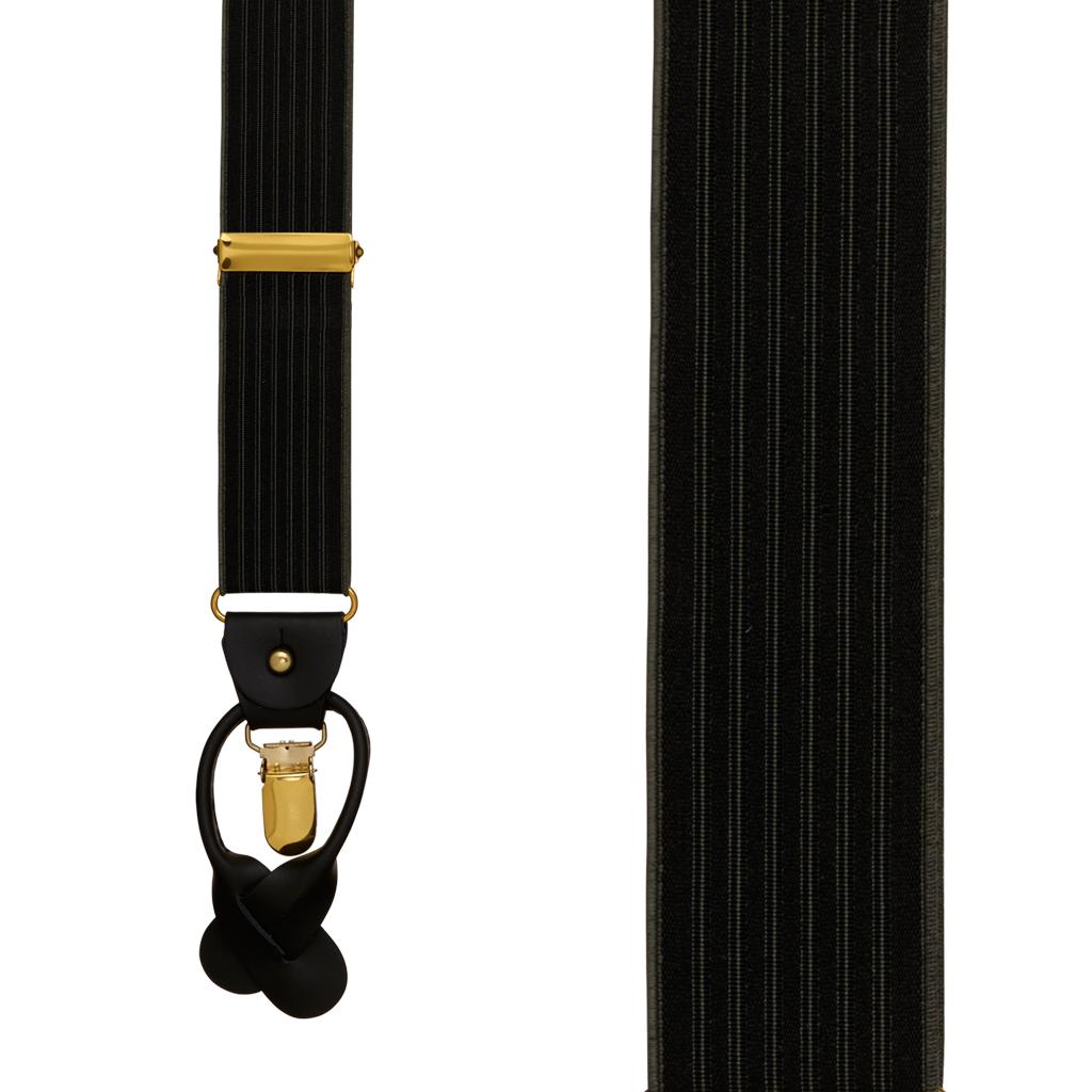 BLACK Geoffrey Beene Vertical Stripe Suspenders - Convertible - Front View
