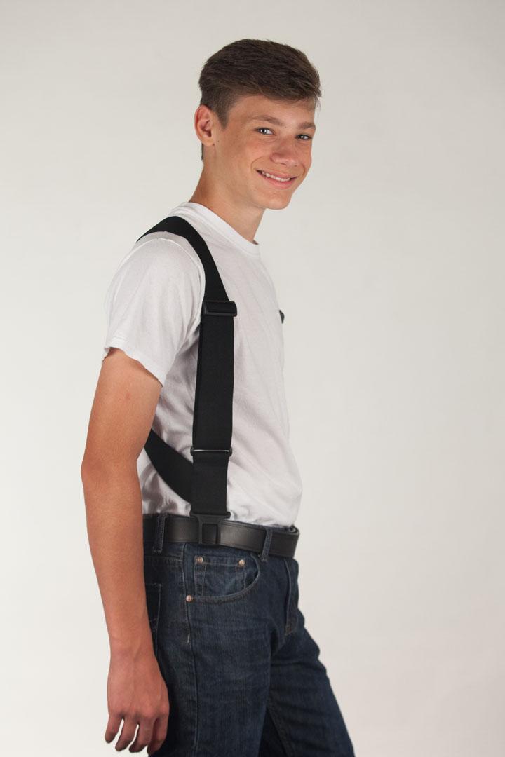 Model wearing black side clip Perry suspenders