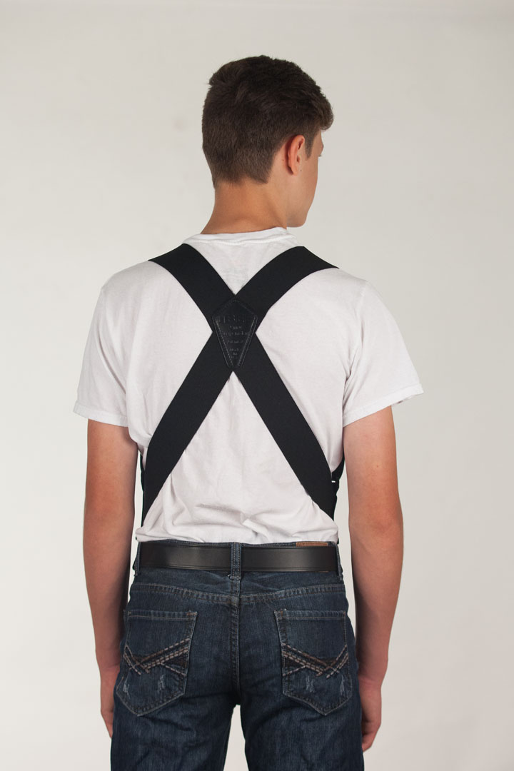 Model wearing black side clip Perry suspenders