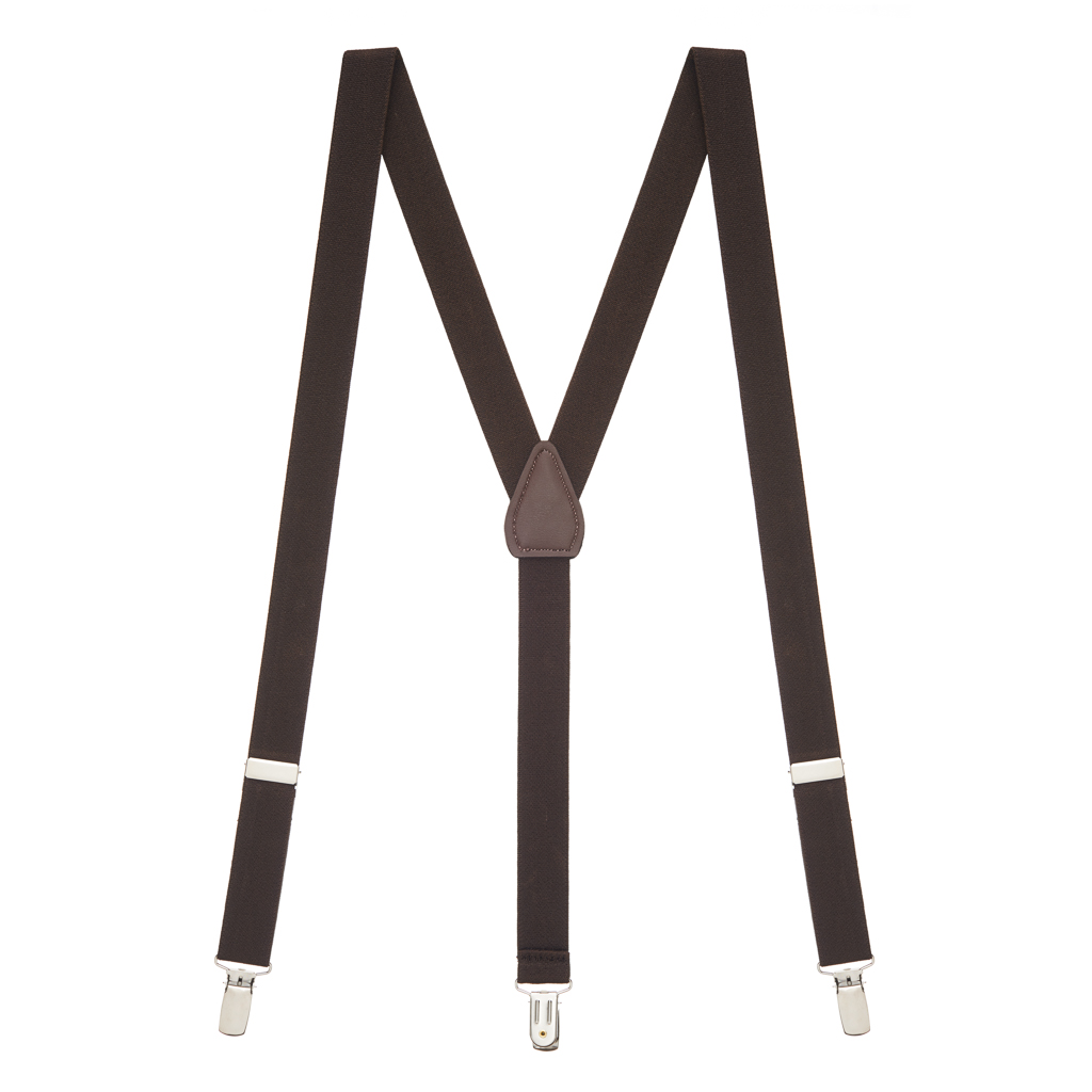 1 Inch Wide Clip Suspenders in Brown - Full View