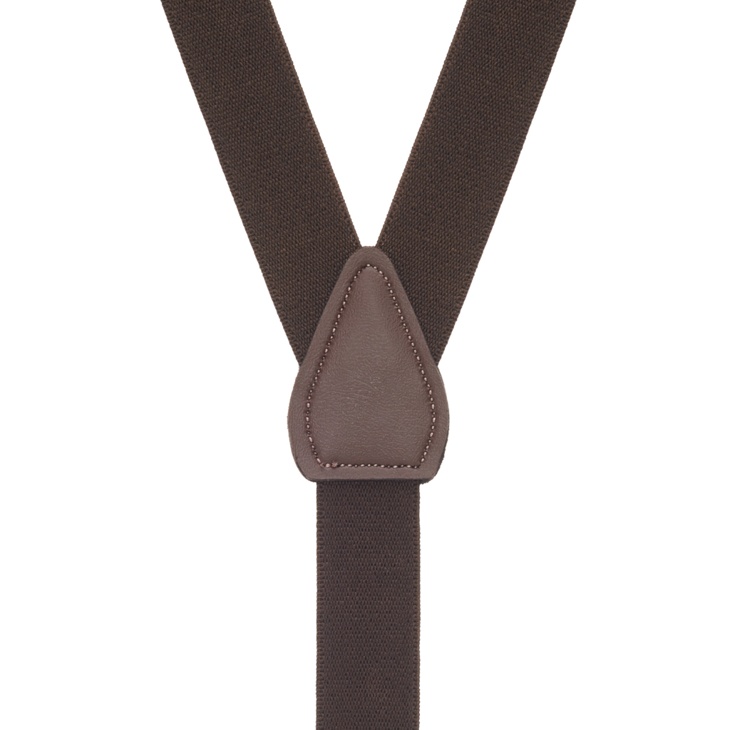 1 Inch Wide Clip Suspenders in Brown - Rear View