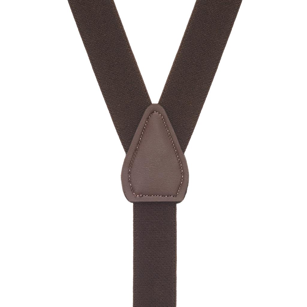 1 Inch Wide Clip Suspenders in Brown - Rear View