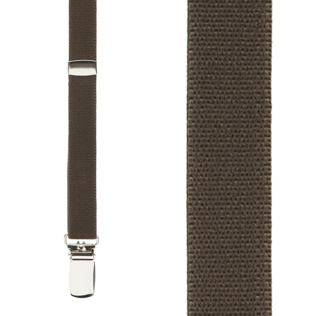 1 Inch Wide Clip Suspenders in Brown - Front View