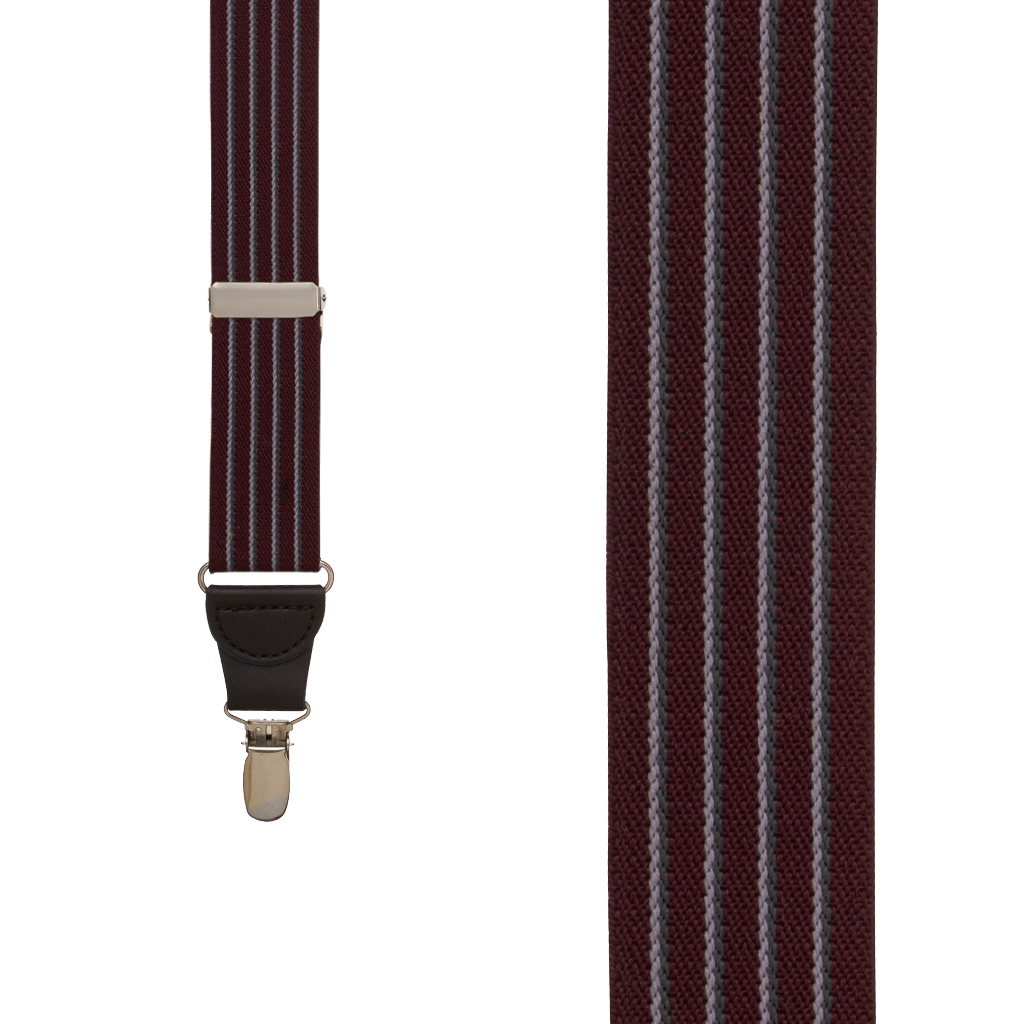 Pinstripe Elastic Suspenders in Burgundy - Front View