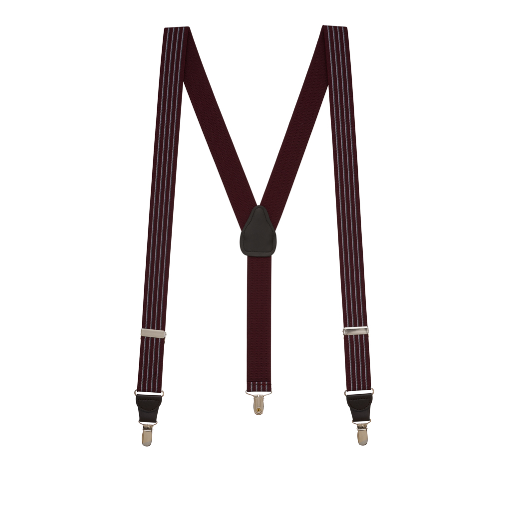Pinstripe Elastic Suspenders in Burgundy - Full View