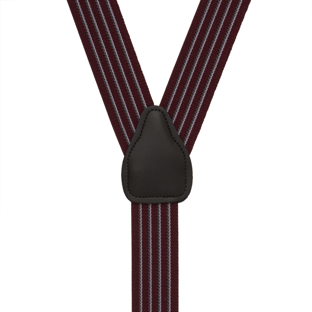 Pinstripe Elastic Suspenders in Burgundy - Rear View