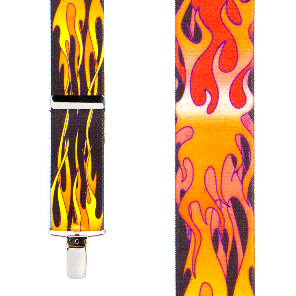 Kids Orange Flames Suspenders Front View