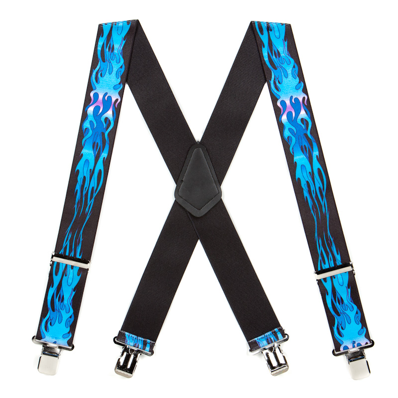 Blue Flames Suspenders - 2 Inch Wide Clip