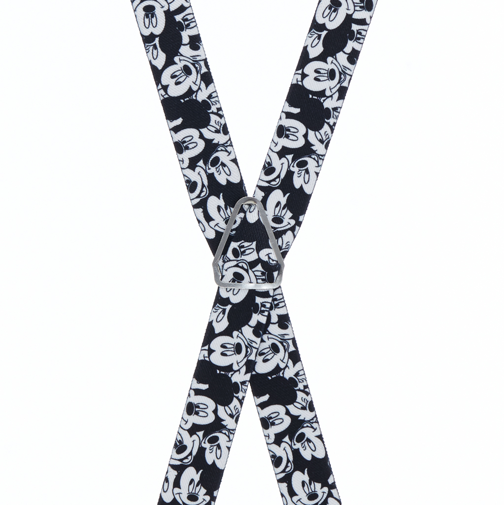 Black & White Mickey Mouse Suspenders - Rear View