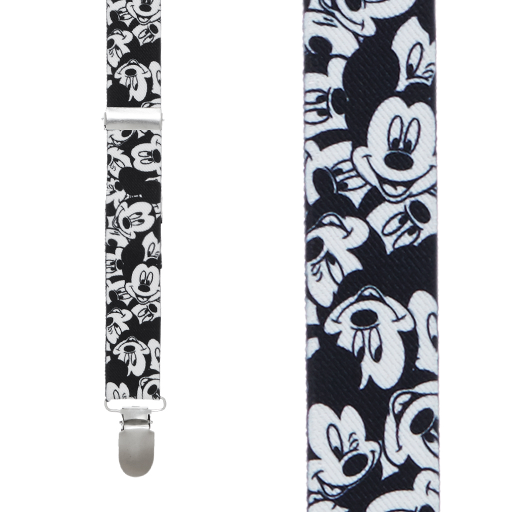Black & White Mickey Mouse Suspenders - Front View