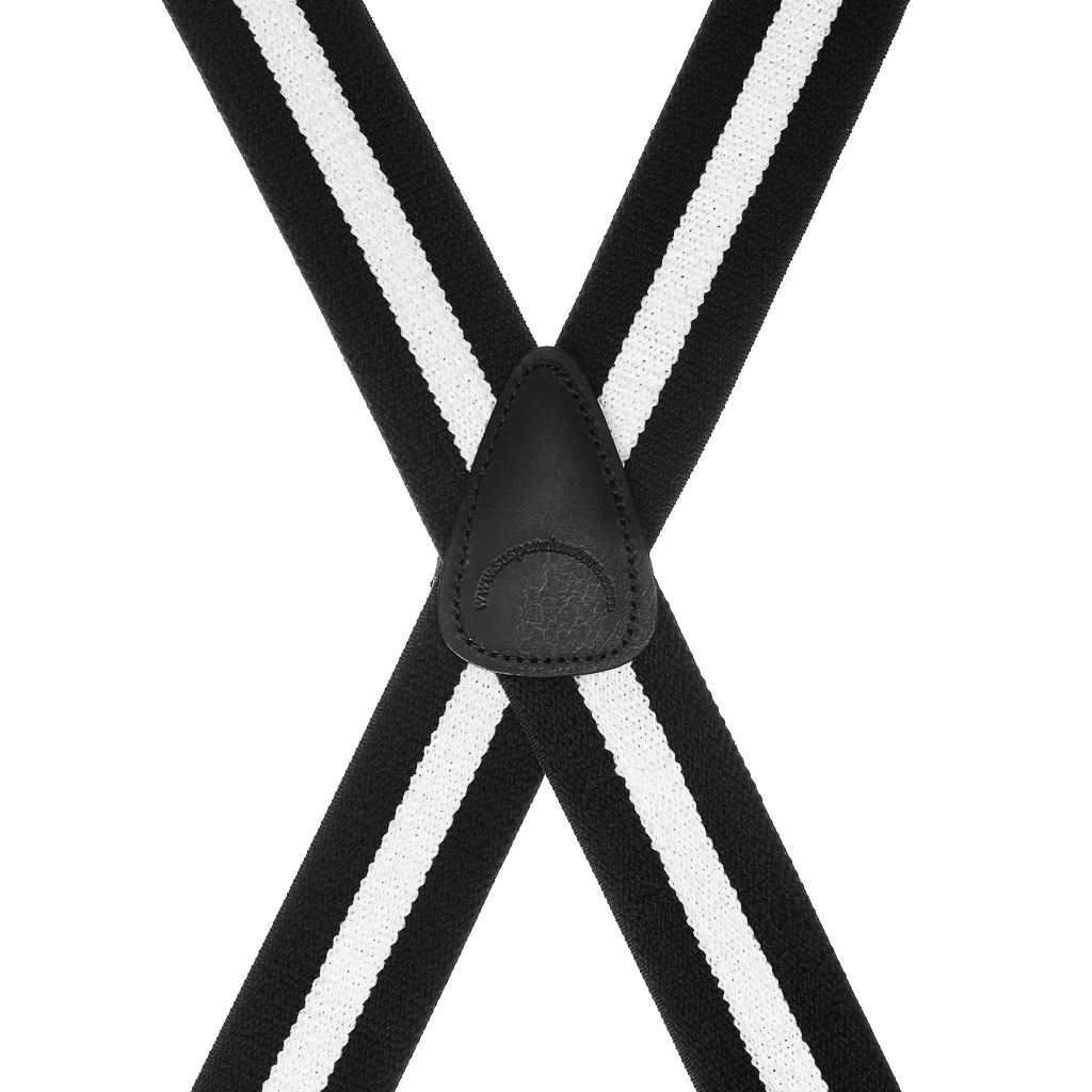 Rear View - Black/White Striped Clip Suspenders - 1.5 Inch Wide