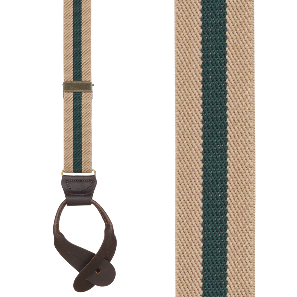 1 Inch Wide Striped Button Suspenders