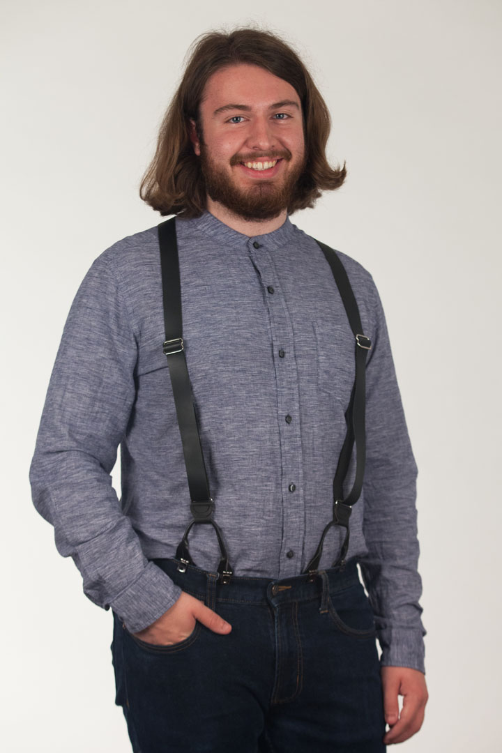 All Leather Button Suspenders - BLACK