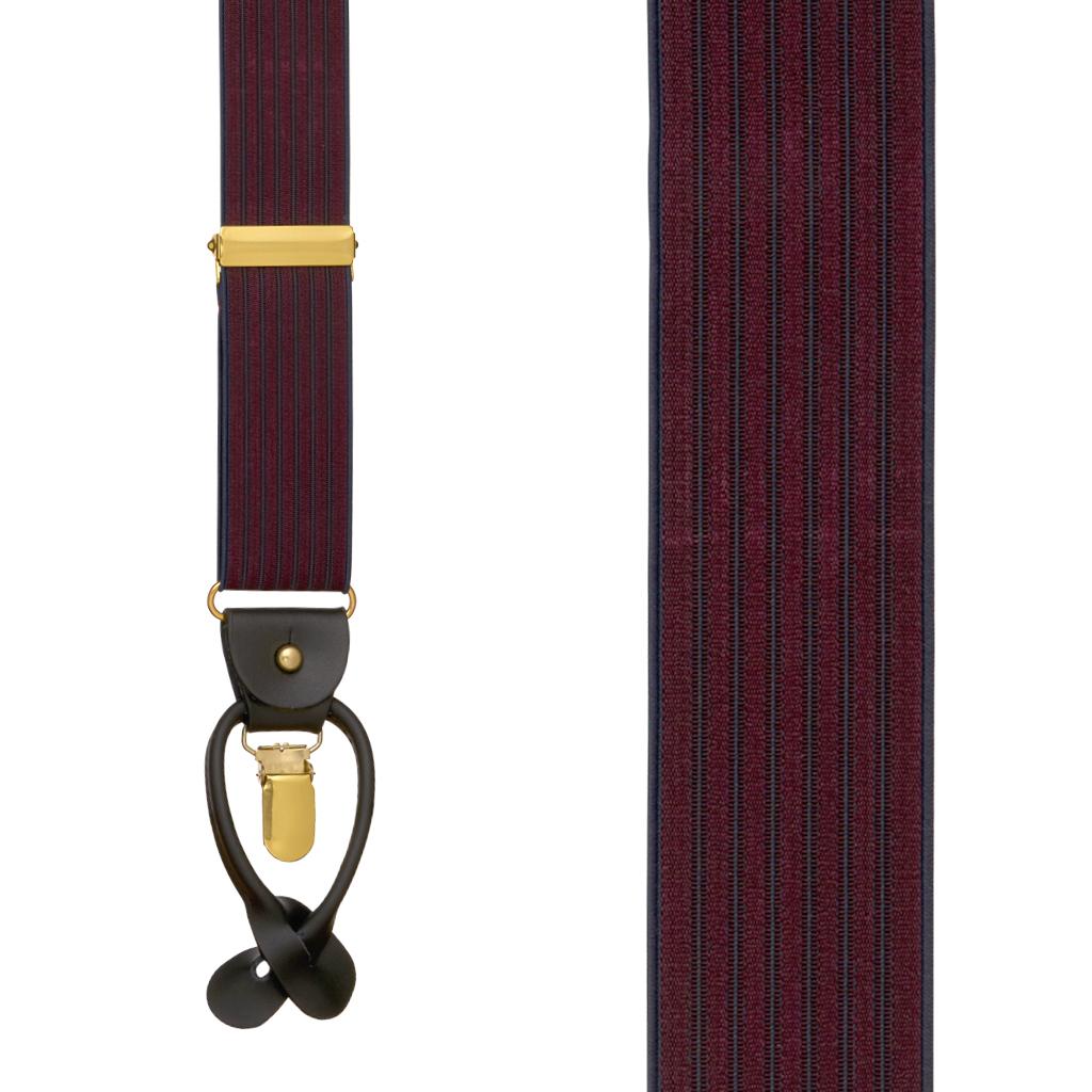 BURGUNDY Geoffrey Beene Vertical Stripe Suspenders - Convertible - Front View