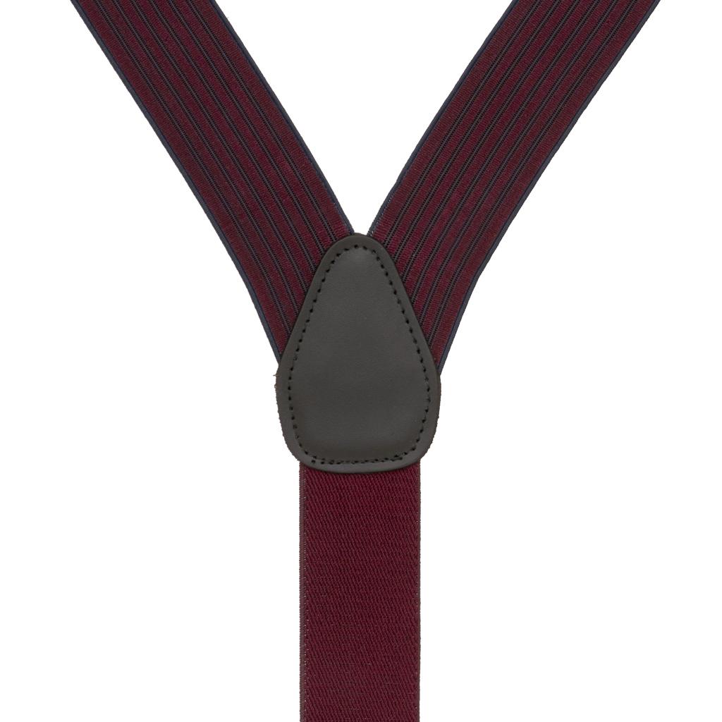 BURGUNDY Geoffrey Beene Vertical Stripe Suspenders - Convertible - Rear View