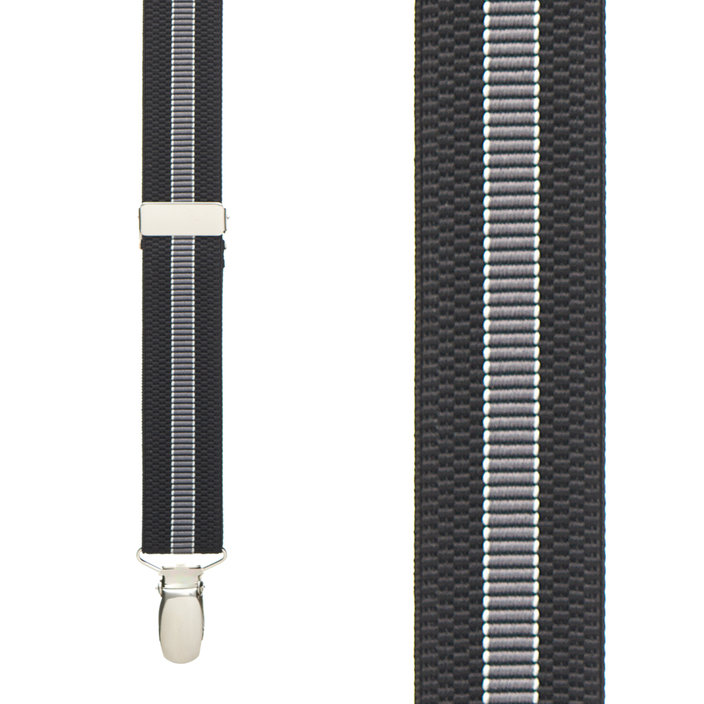 BLACK/GREY Striped Suspenders - Front View