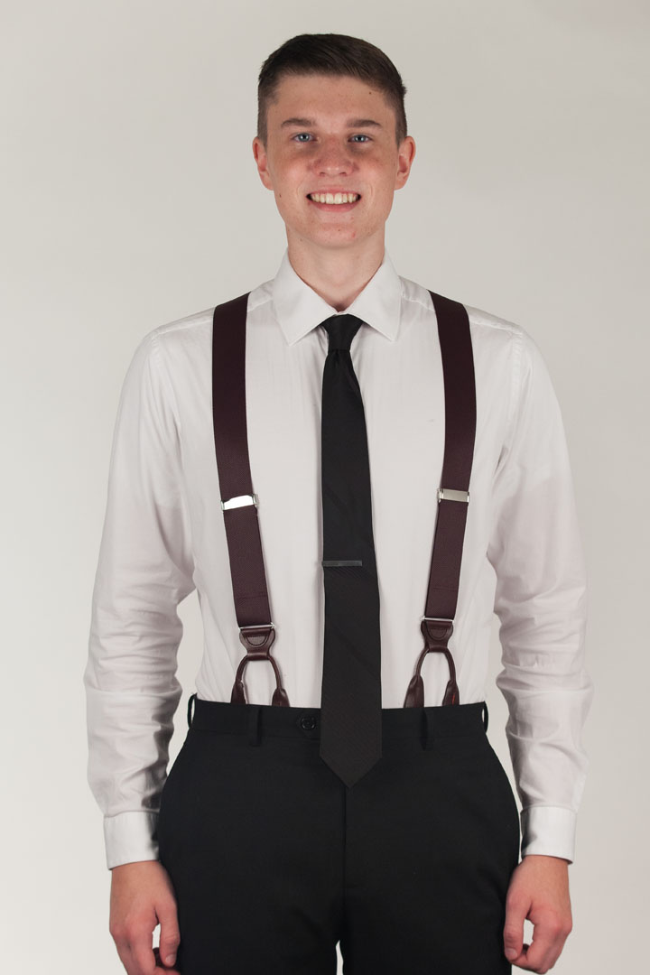 Model Wearing Oxford Cloth Button Suspenders - Front View