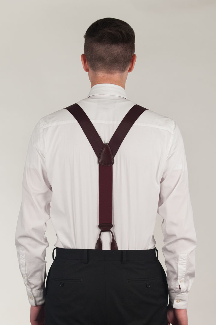 Model wearing Oxford Cloth Button Suspenders - Rear View