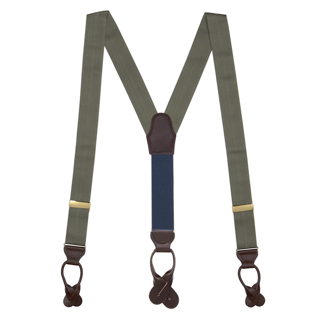 Oxford Cloth Button Suspenders in Olive - Full View